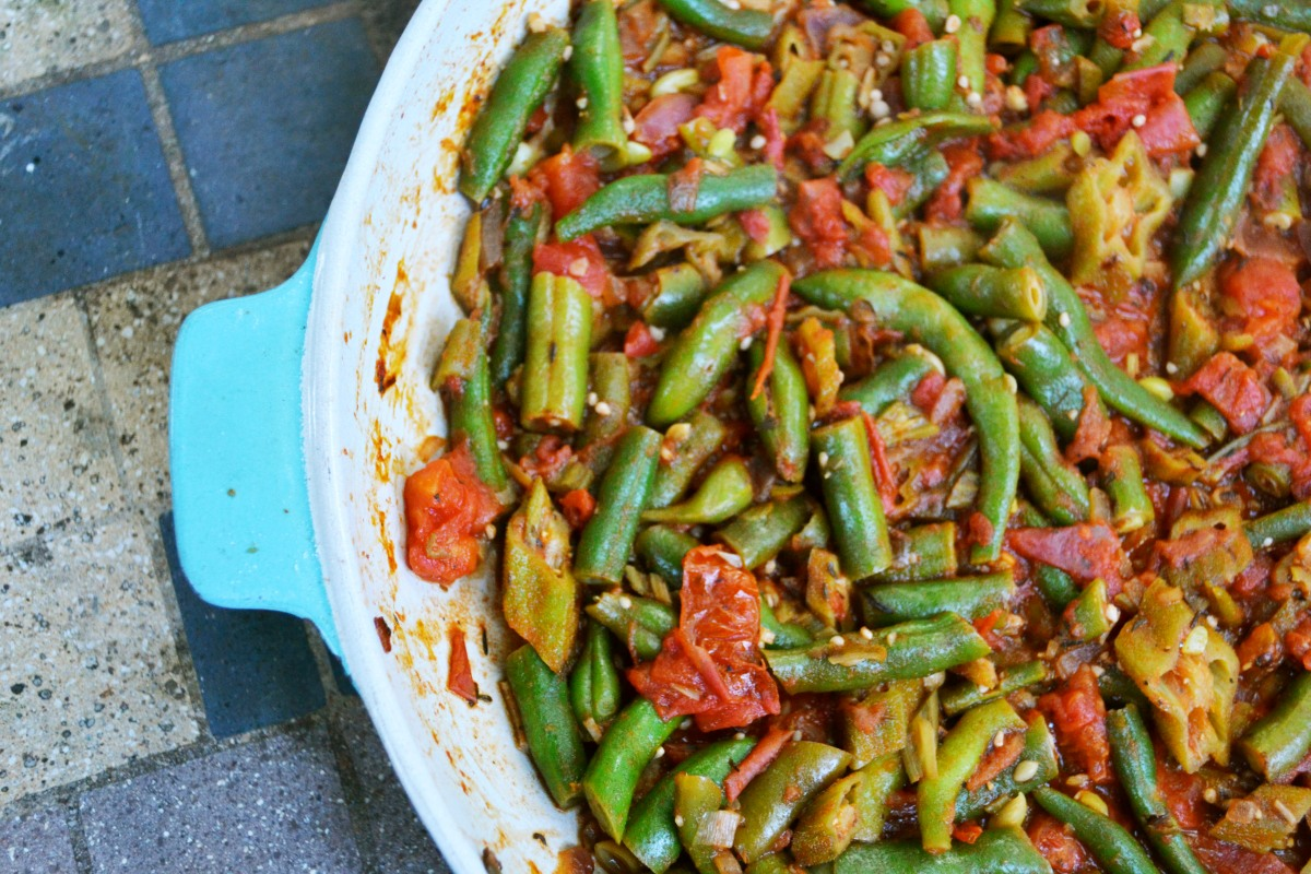 Stewed Okra and Green Beans