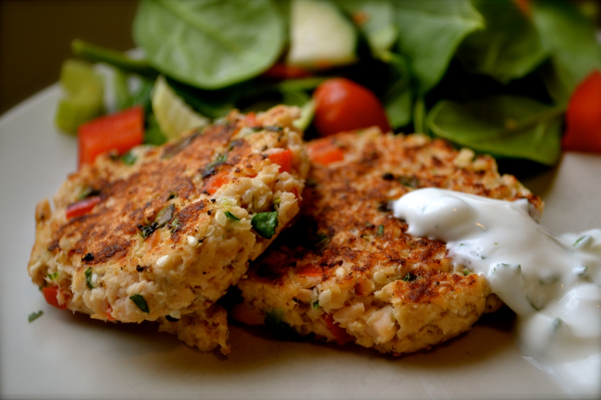 Salmon Patties with Cilantro-Lime Sauce