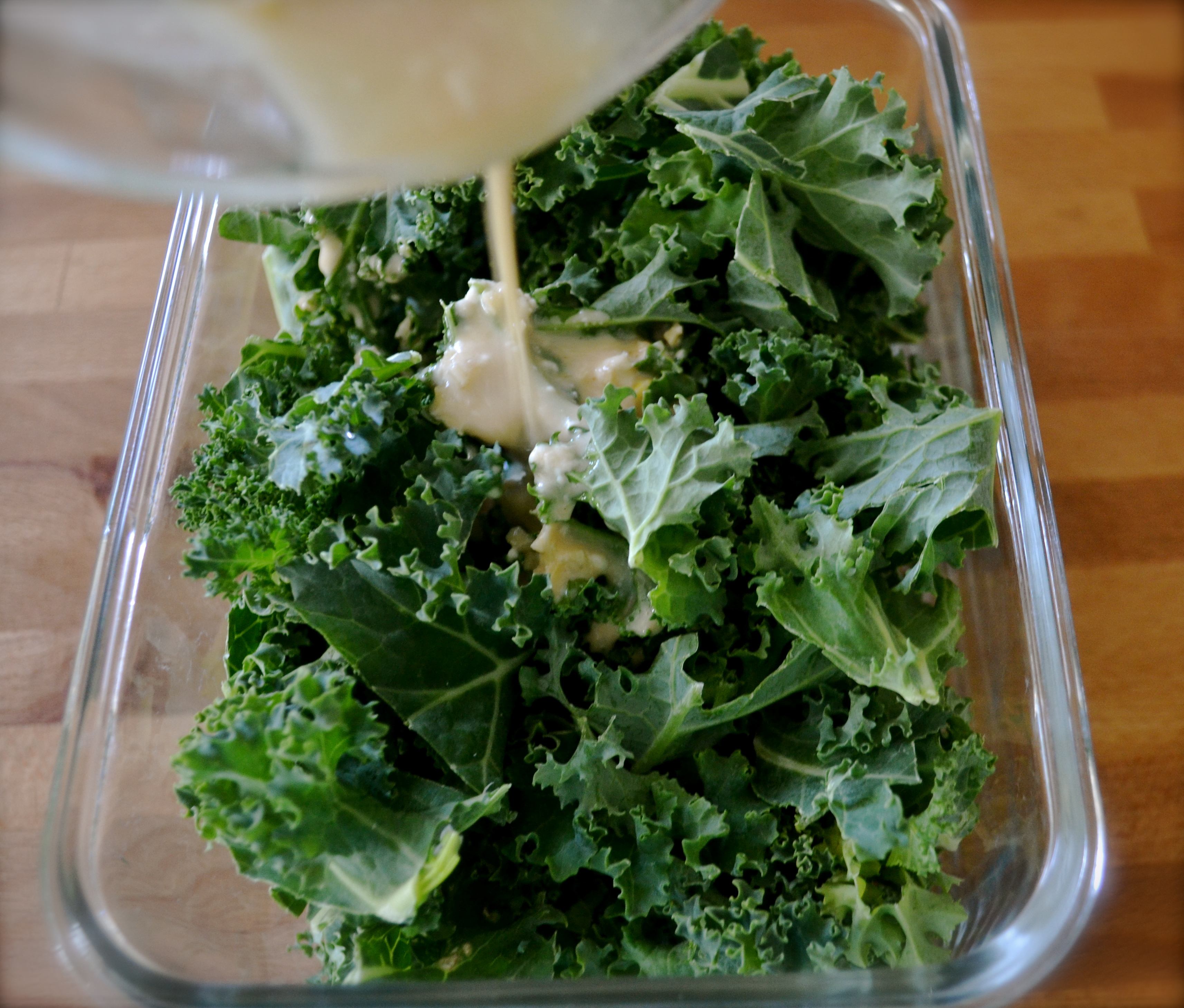 If you can, mix the kale and the dressing together and allow to sit ...