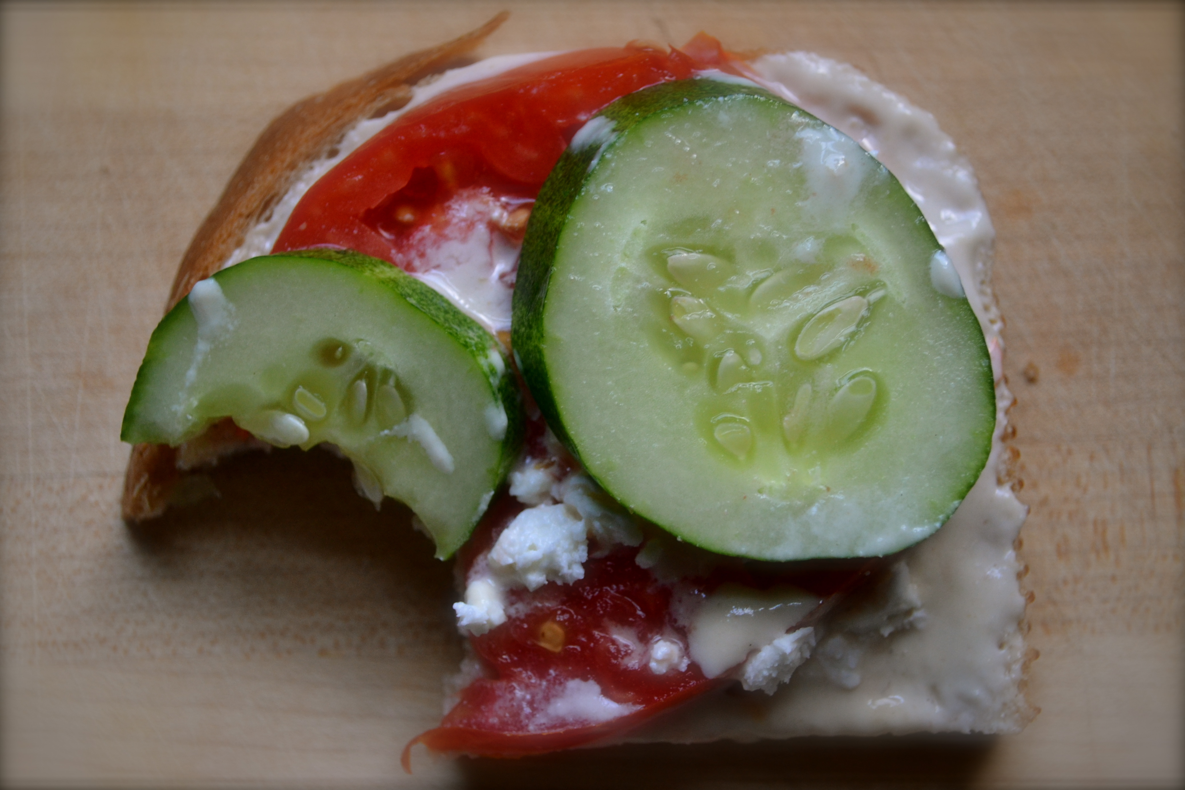 Open-faced Tomato and Cucumber Sandwich with Tahini-Miso ...
