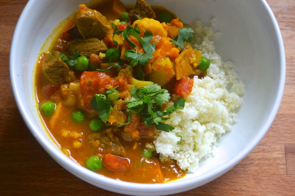 Beef Curry with Sweet Potatoes and Cauliflower