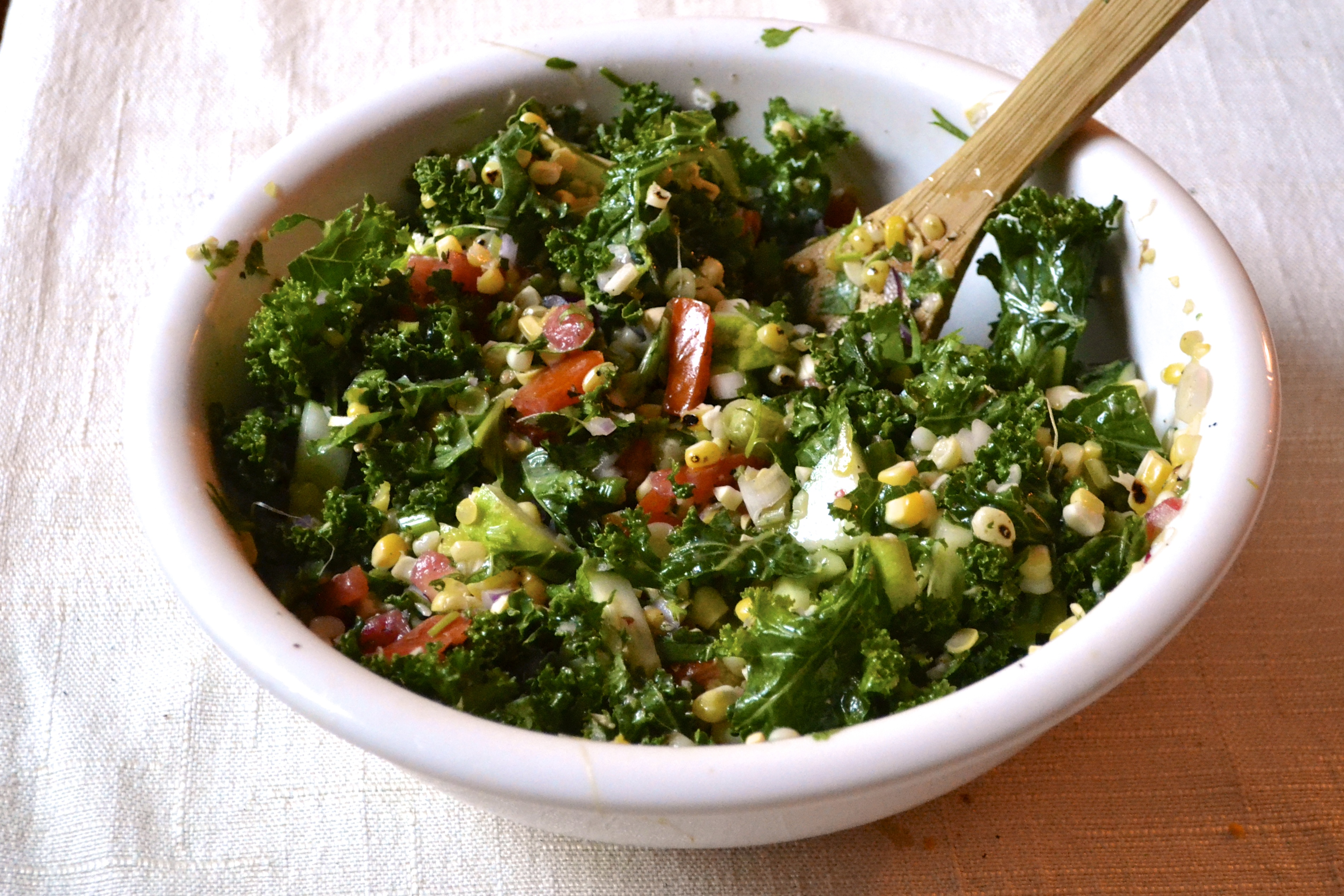Kale Salad with Roasted Corn and Lime Cilantro Vinaigrette ...