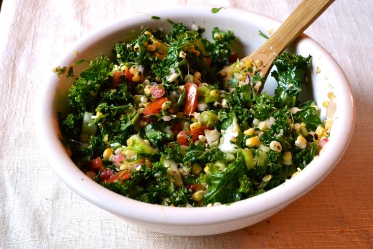 Kale Salad with Roasted Corn and Cilantro Lime Vinaigrette