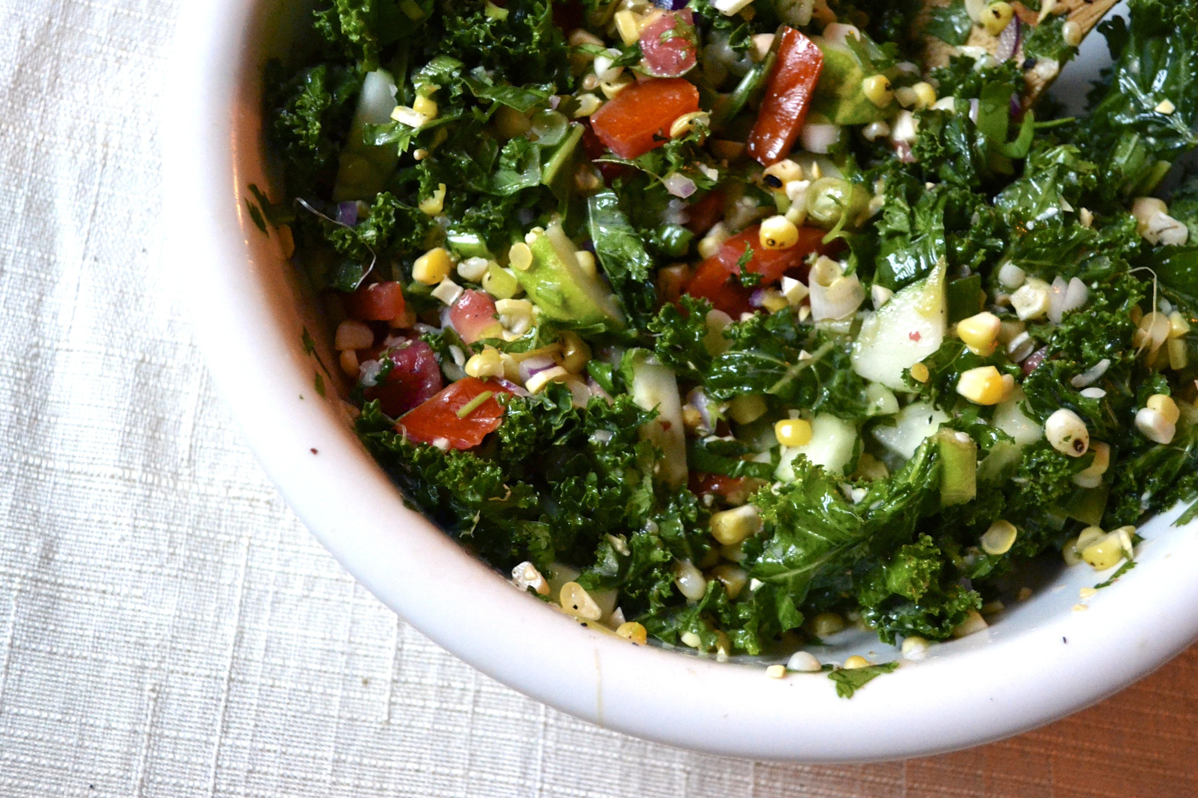 Kale Salad with Roasted Corn and Lime Cilantro Vinaigrette | BIG EATS ...