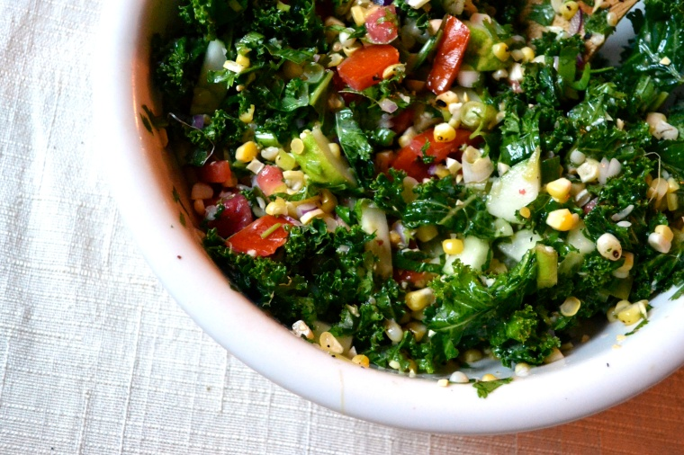Kale Salad with Roasted Corn and Cilantro Lime Vinaigrette