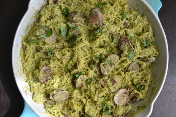 Creamy Pesto Spaghetti Squash with Chicken and Mushrooms - Big Eats Tiny Kitchen (Gluten Free, Paleo, Dairy Free)