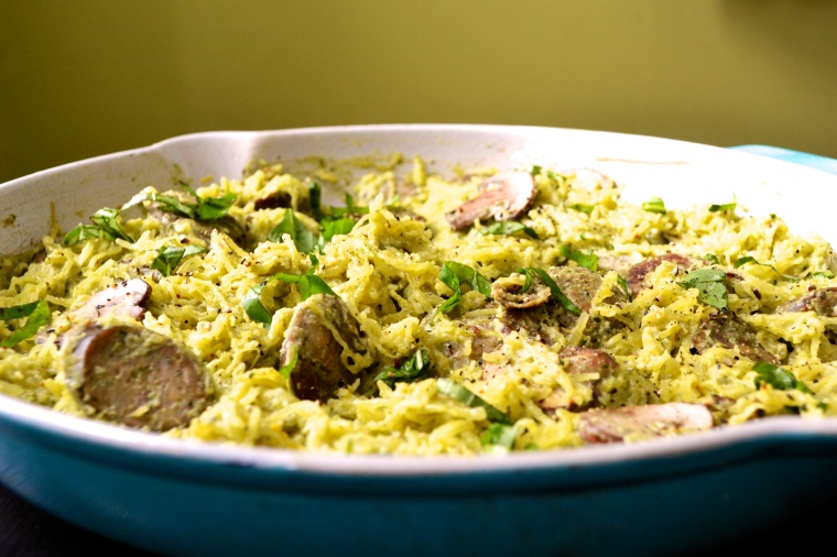 Creamy Pesto Spaghetti Squash with Chicken and Mushrooms - Big Eats Tiny Kitchen