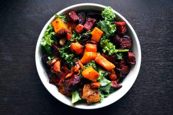Miso-Harissa Roasted butternut squash and beets