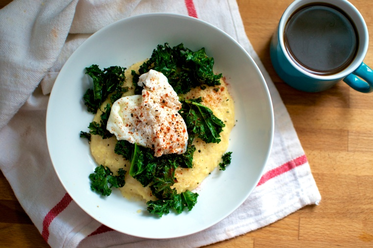 Creamy Polenta with Crispy Kale and Poached Egg