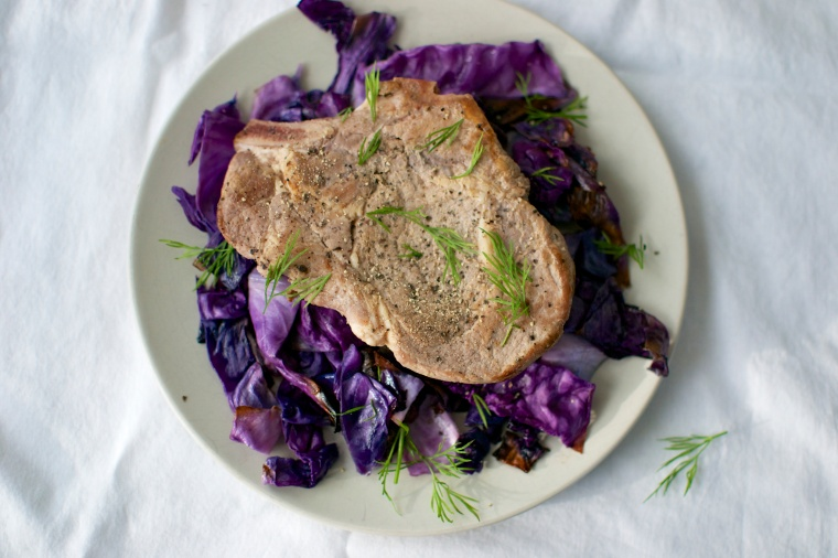 Cider Braised Pork Chops with Dill and Roasted Cabbage