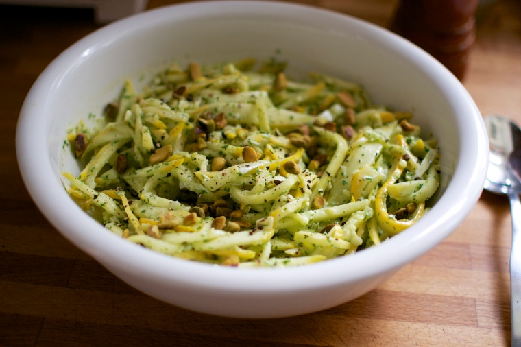 Summer Squash Pasta with Creamy Basil-Cilantro Dressing // Big Eats Tiny Kitchen