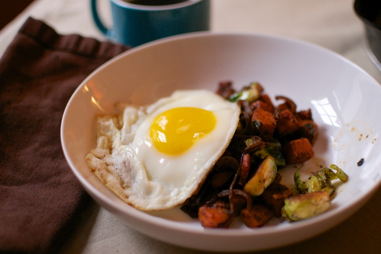 Brussels Sprouts and Sweet Potato Breakfast Skillet // Big Eats Tiny Kitchen