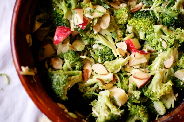 Broccoli, Apple, and Brussels Sprout Salad with Tahini-Maple Dressing // Big Eats Tiny Kitchen