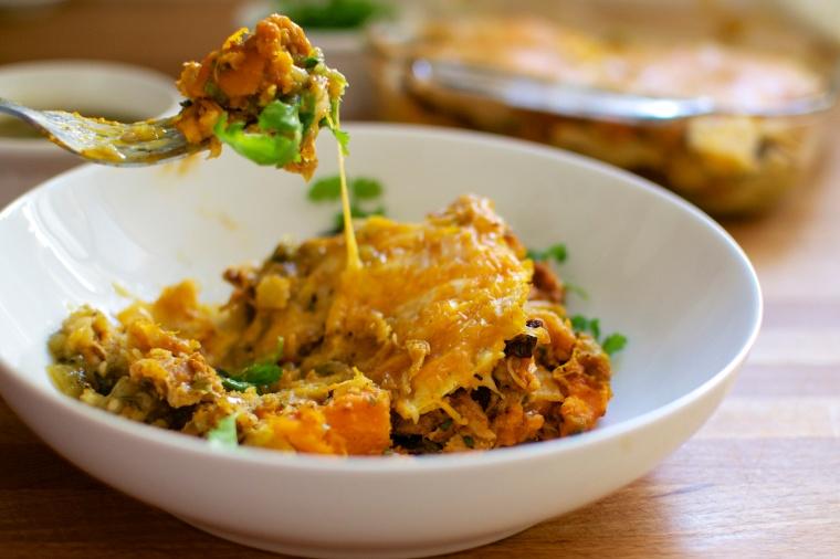 Green Chili Chicken and Kobucha Squash Enchiladas (Gluten Free) // Big Eats Tiny Kitchen