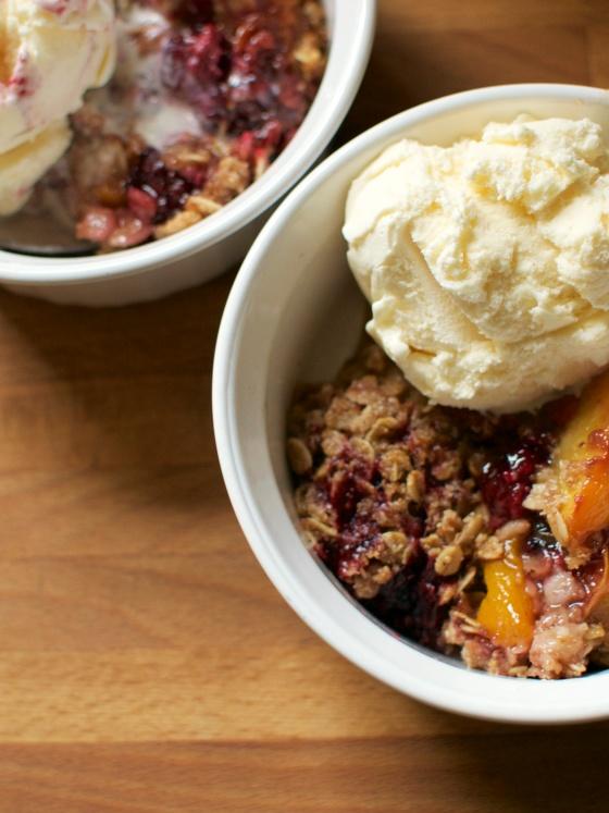 Gluten Free Nectarine and Blackberry Crumble // Big Eats Tiny Kitchen