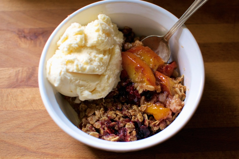 Gluten Free Nectarine and Blackberry Crumble // Big Eats Tiny Kitchen